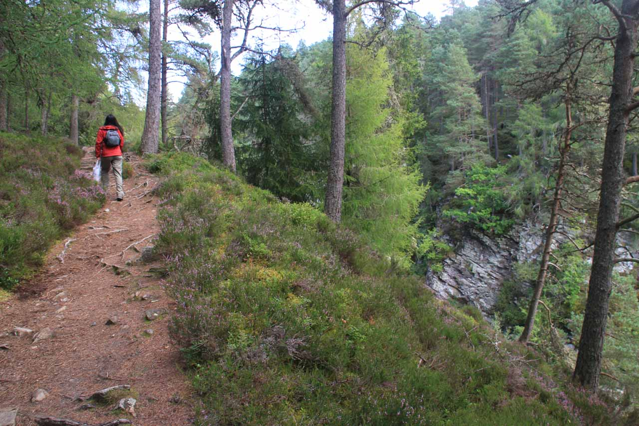 The trail continued to climb uphill as it rose high above the Bruar Water