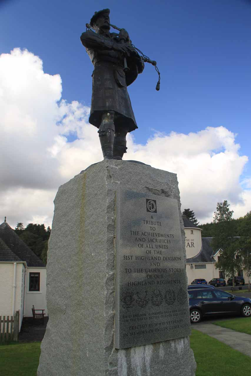 Back at the front of the House of Bruar, I noticed this statue commemorating the 51st Highland Division