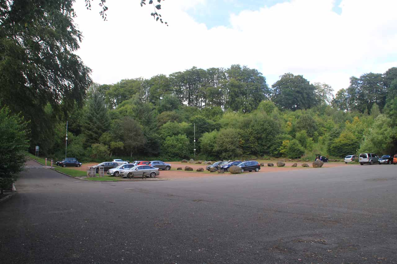 The large public car park for the Falls of Clyde and New Lanark