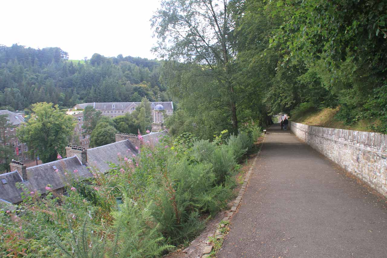 Descending into the town of New Lanark