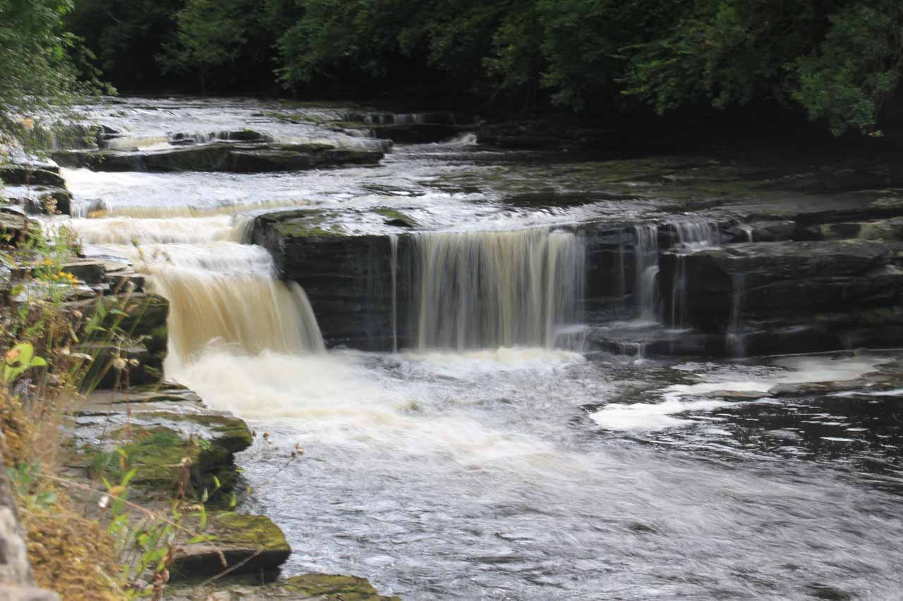 Right by the visitor center, I was able to peer over a fence towards this small waterfall called the Dundaff Linn.  This was the first of the Falls of Clyde