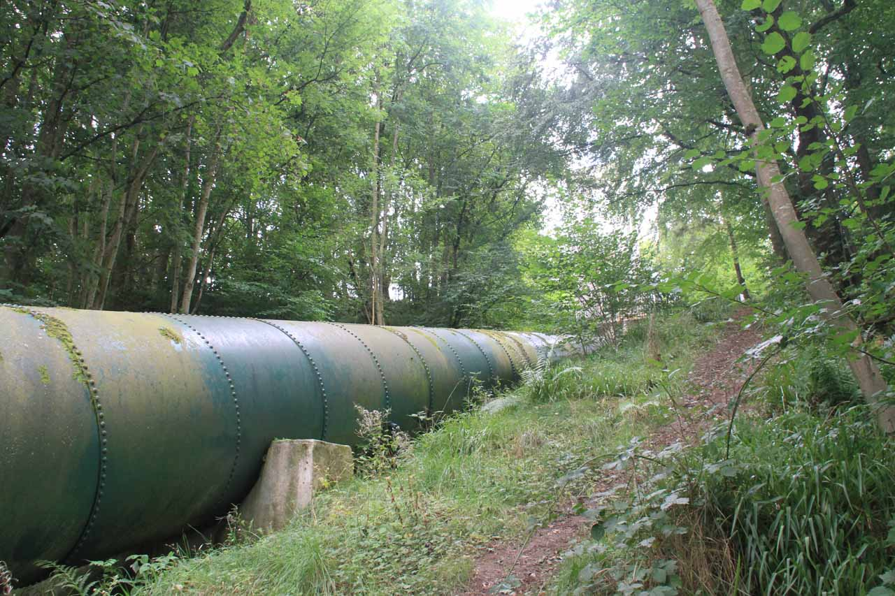 Diversion pipes alongside the trail