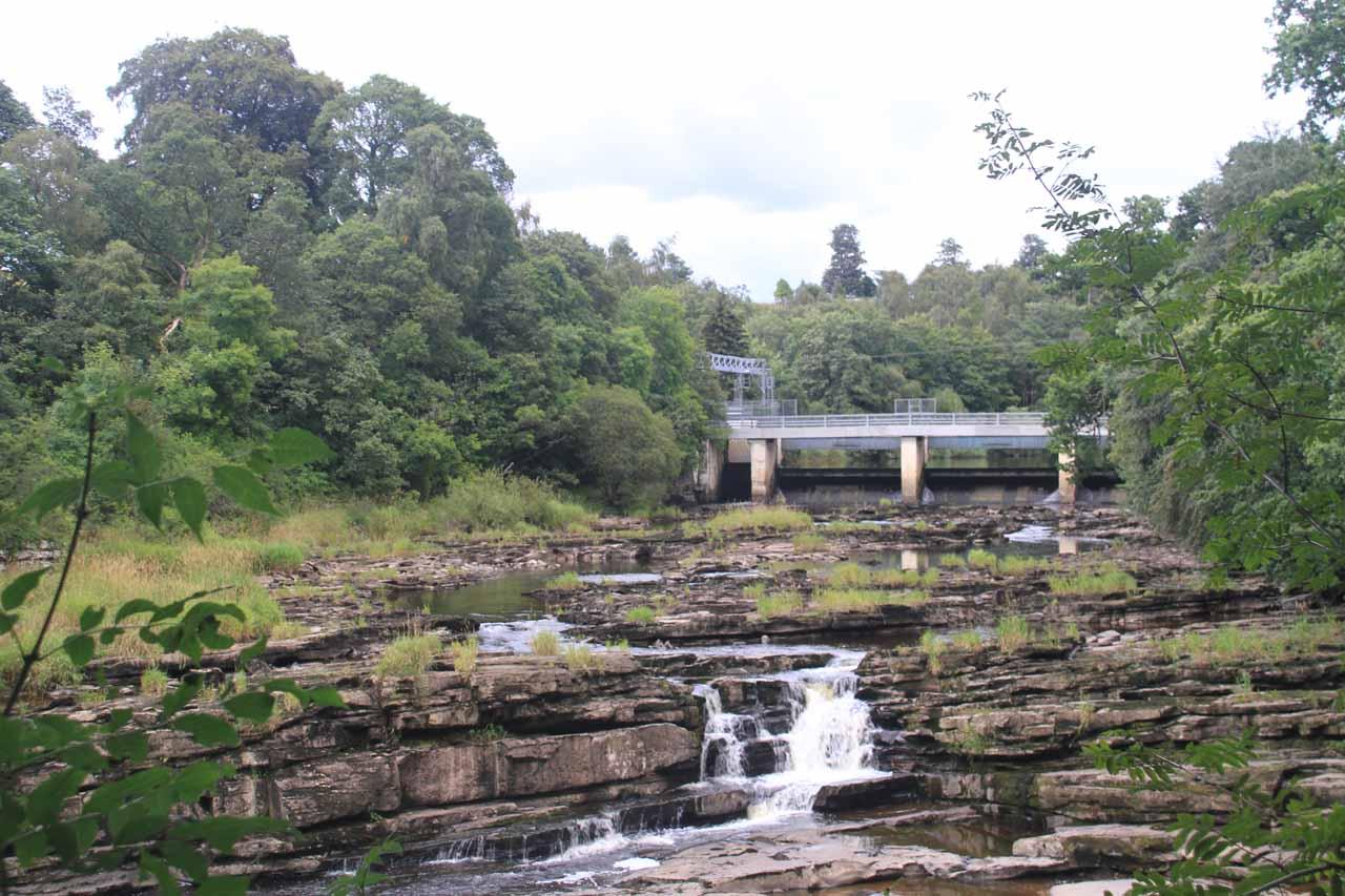 Looking upstream past some cascades towards the Bonnington Weir