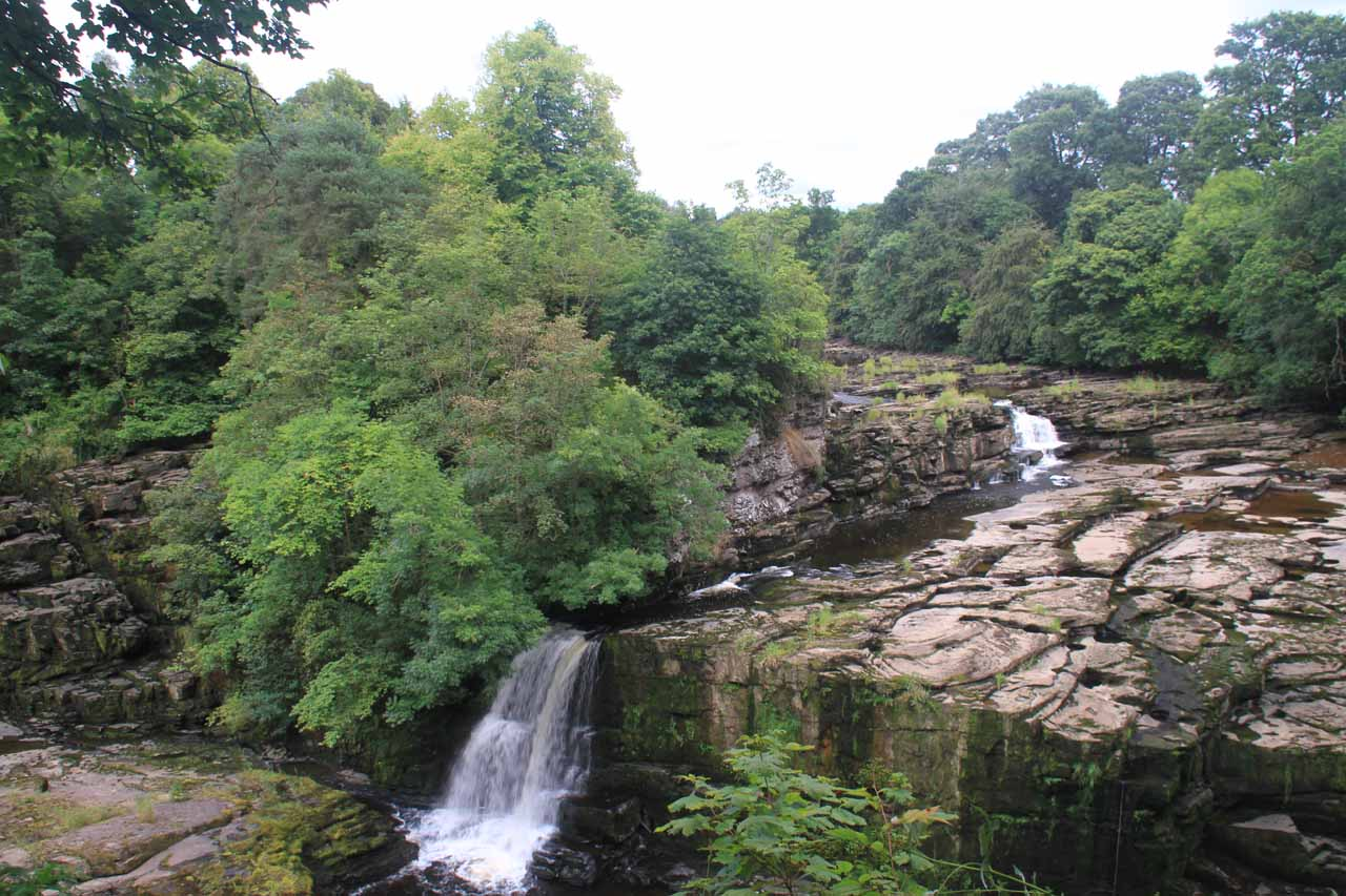 Looking back towards the Bonnington Linn at a fraction of its former self thanks to the Bonnington Weir
