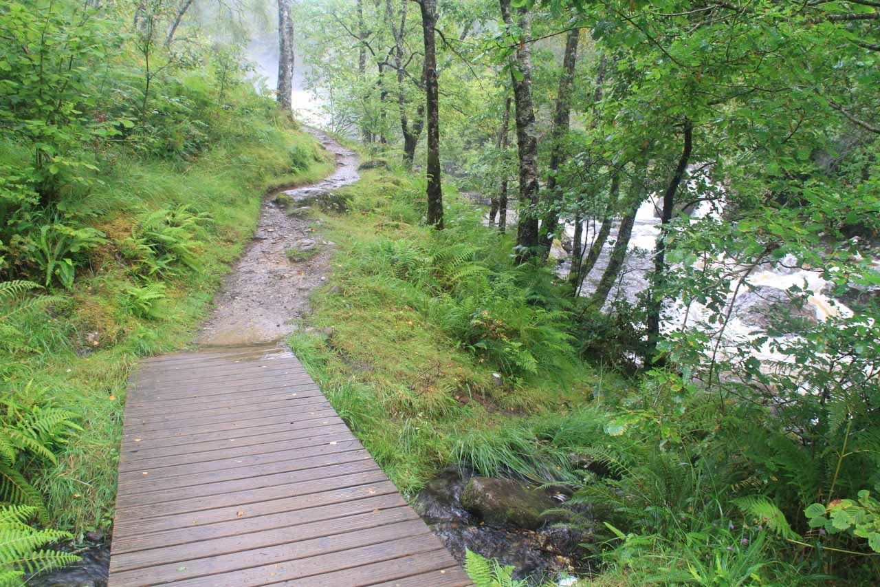 Approaching the misty Falls of Falloch in full spate as the trail started to meander alongside the River Falloch