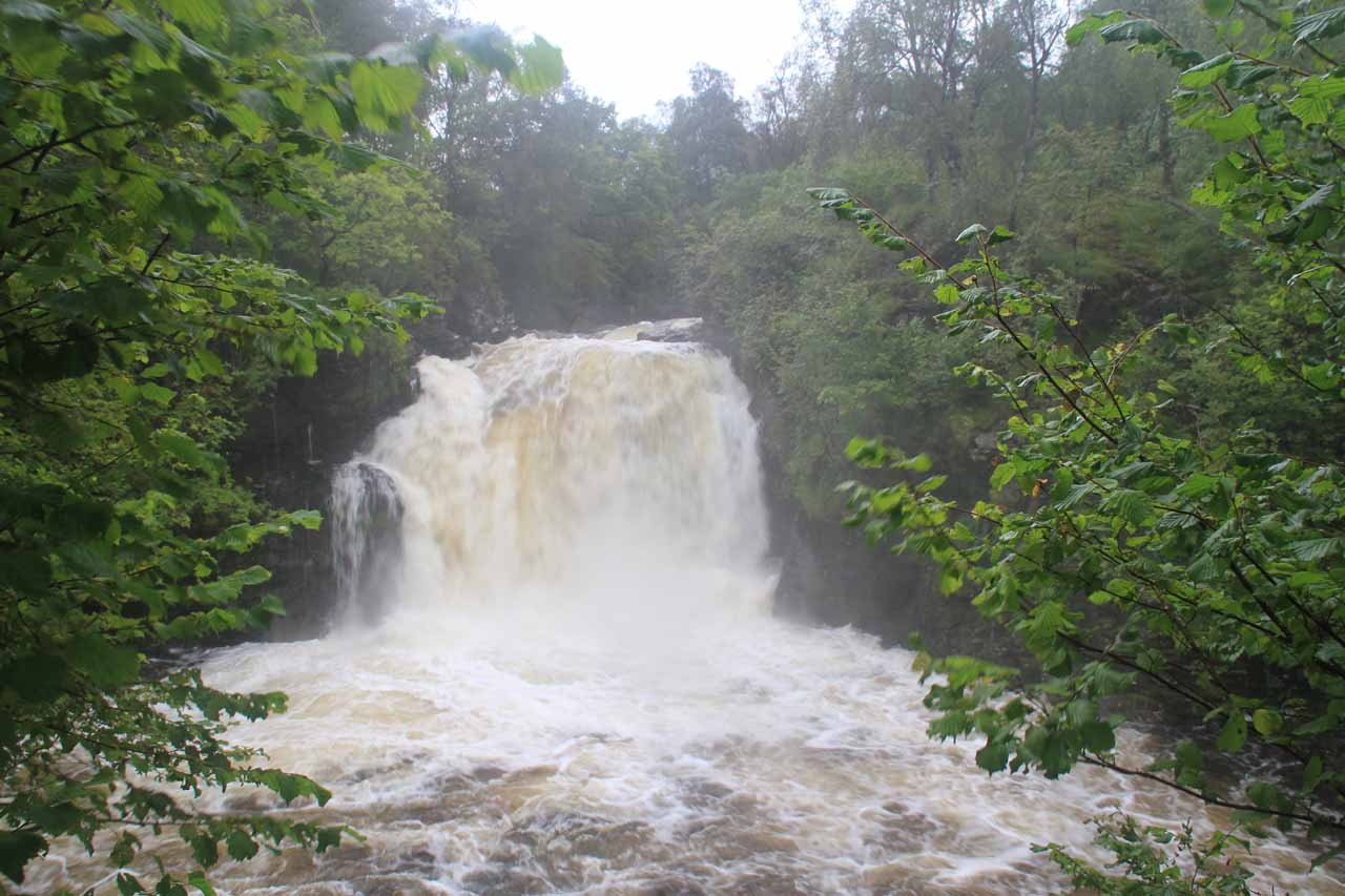 Direct look at the Falls of Falloch in full spate