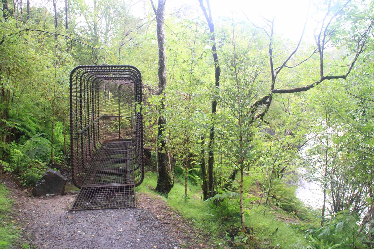 The caged walkway leading to an even closer look at the Falls of Falloch