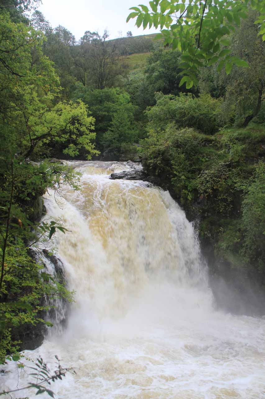 This was the view of the Falls of Falloch from the end of the caged walkway