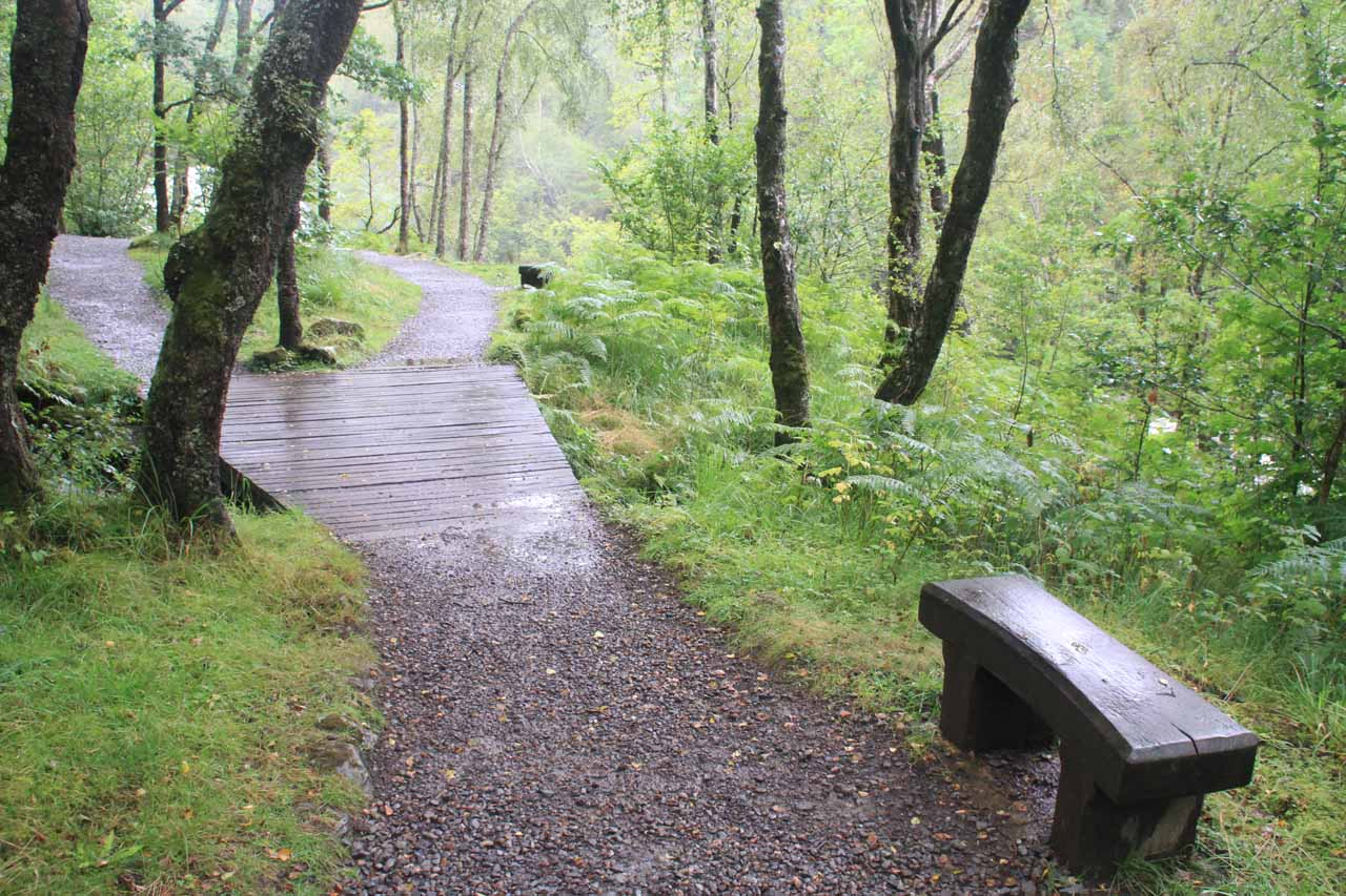 There were some benches along the trail to the Falls of Falloch