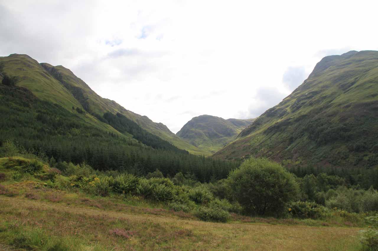 Looking back towards the Allt Choinneachain Valley's head