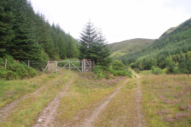 Falls_of_Glomach_021_08242014 - One of the sheep gates seen along the early parts of the hike to the Falls of Glomach. Good thing there were signs placed at these decision nodes to keep me on the right path