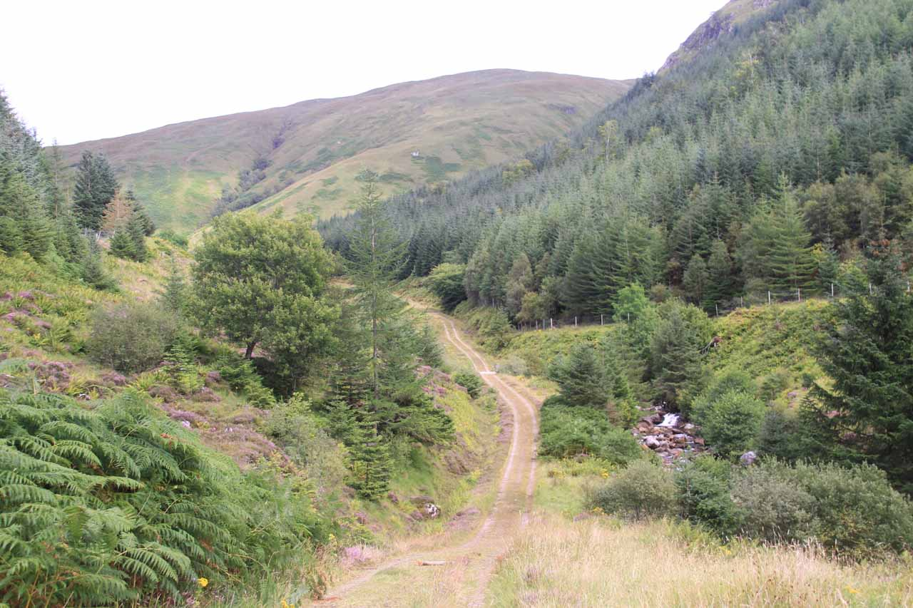 The trail descended then ascended from this point as it briefly followed the Abhain Chonaig Stream