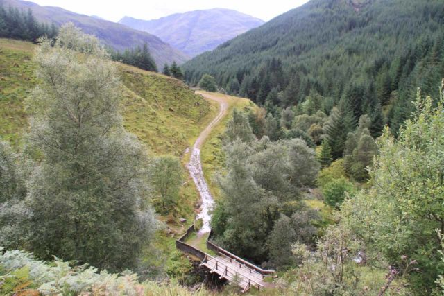 Falls_of_Glomach_052_08242014 - Looking back down at the footbridge over the Allt an Leoid Ghaineamhaich right at the start of the long ascent up its valley to the moors en route to the Falls of Glomach