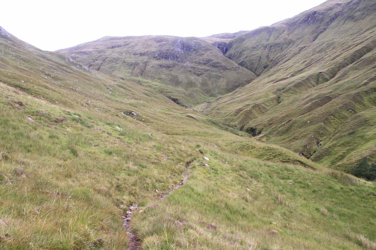 Nearing the head of the Allt an Leoid Ghaineamhaich Valley