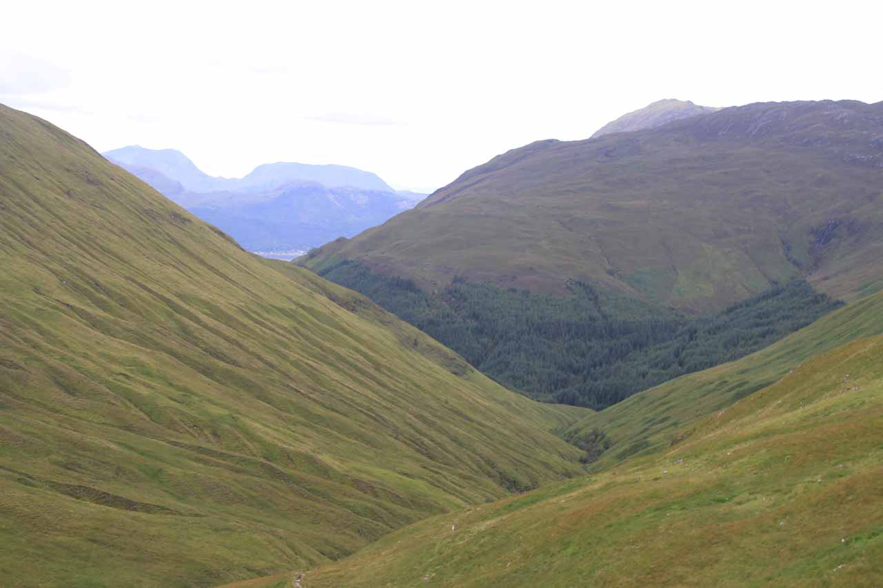 Looking back towards Loch Duich from the bealach or pass, where the trail climbed up to the moors