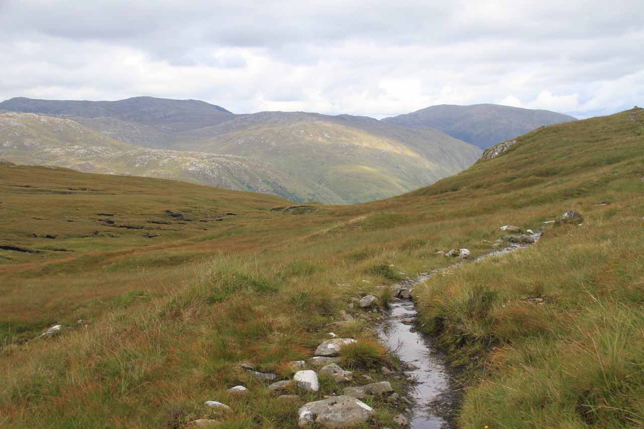 Now I had climbed above the valley and into the Bealach na Sroine or 'pass of the nose', which was the moorish highlands bridging towards the next valley I'd descend into