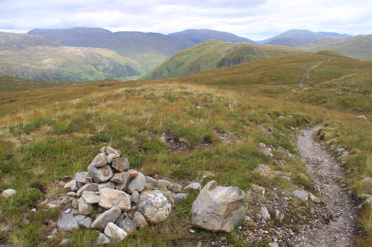 Strategically placed rock cairns were set up to ensure I stayed on the trail while passing through the bealach
