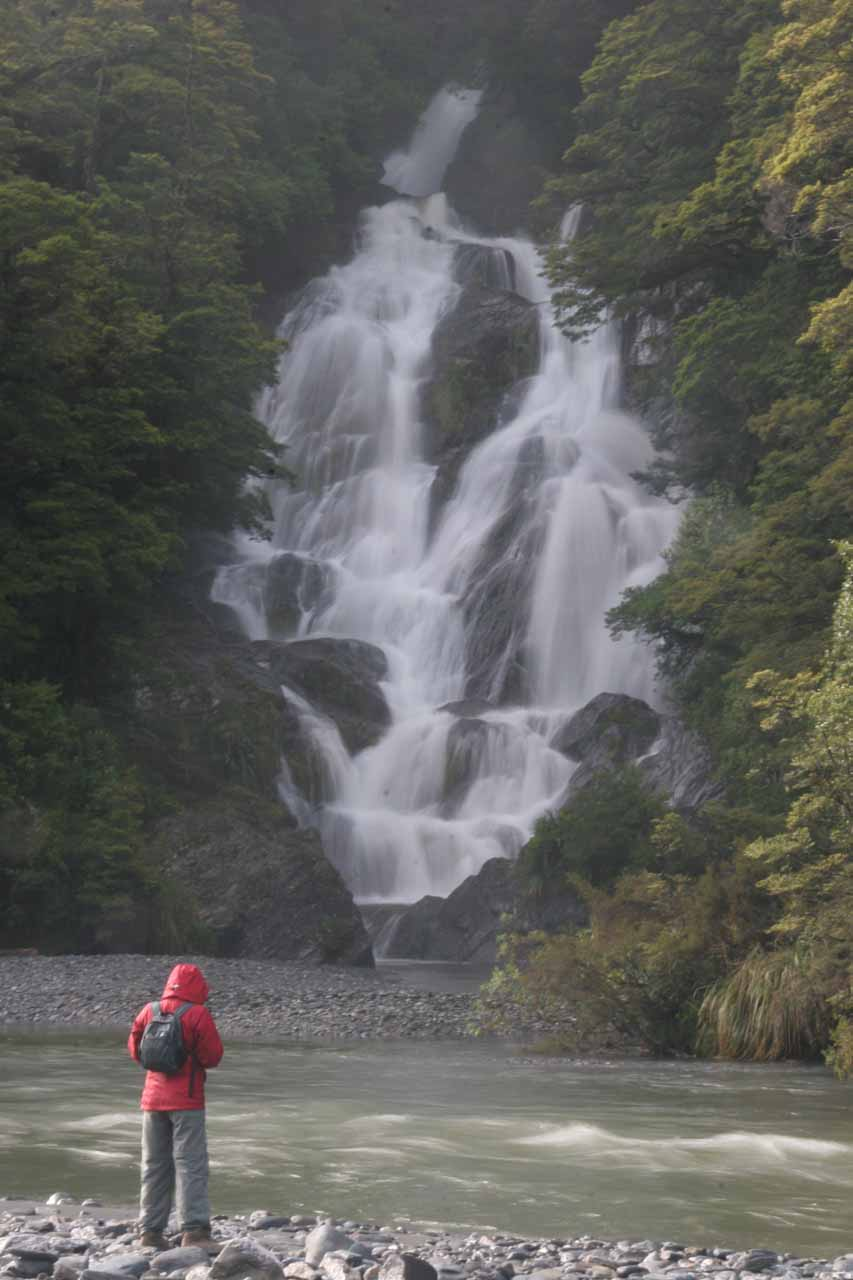Julie standing in front of Fantail Falls seen in December 2009
