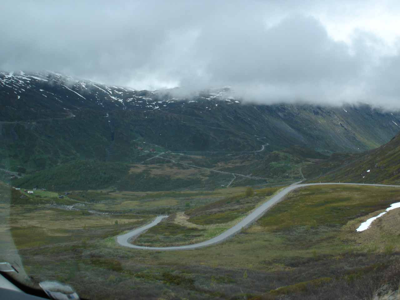 This was the view of the curvy switchbacks as we made our way down towards Turtagrø