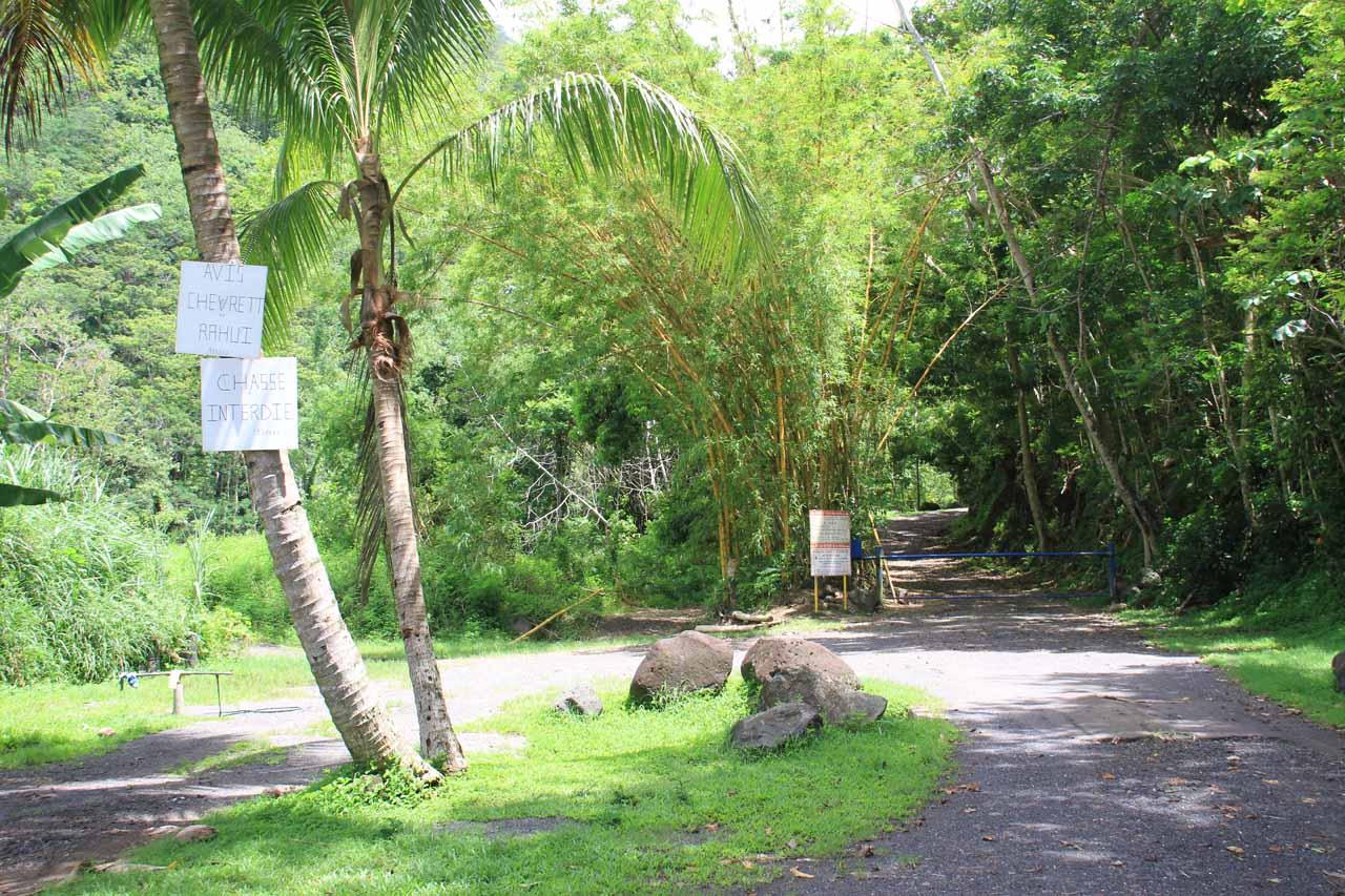 The trailhead and gate