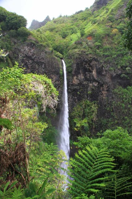 Fautaua_Valley_061_20121214 - Cascade de Fachoda or the 'Fautaua Waterfall' from the 'bellevue'. Note the sharp peak of Diademe just appearing in the background