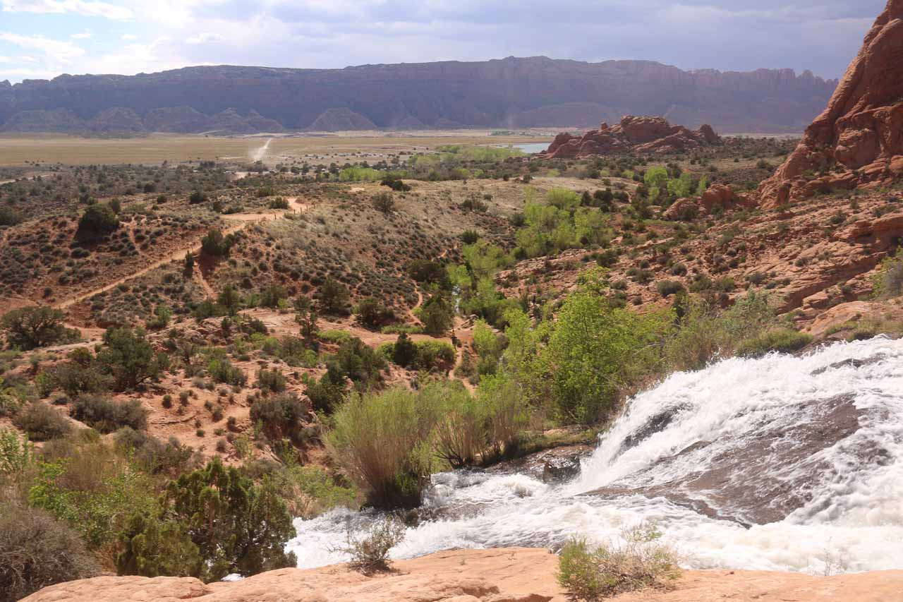 Looking downstream across the brink of the main drops of Faux Falls towards Ken's Lake in the distance