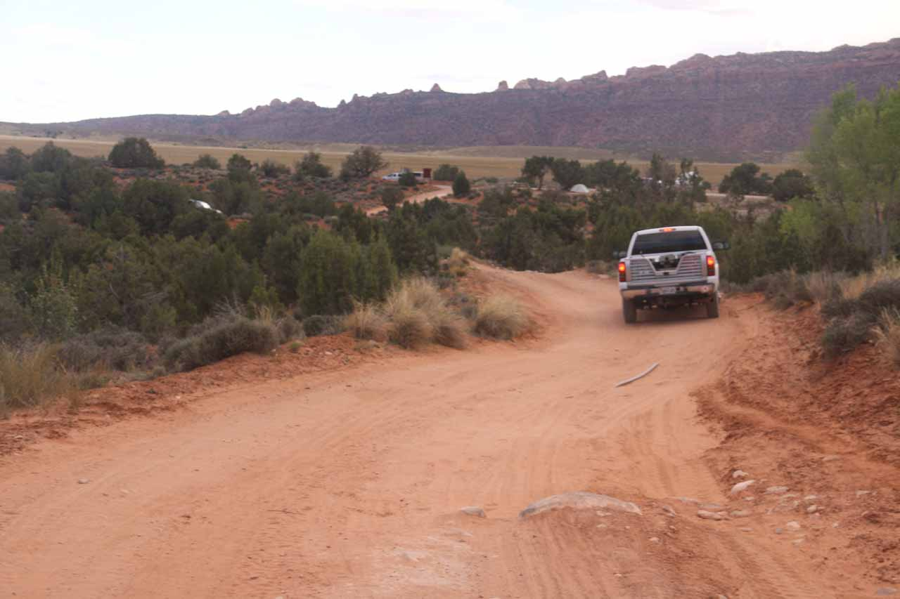 The high clearance truck making its way out of the 4wd Faux Falls Rd
