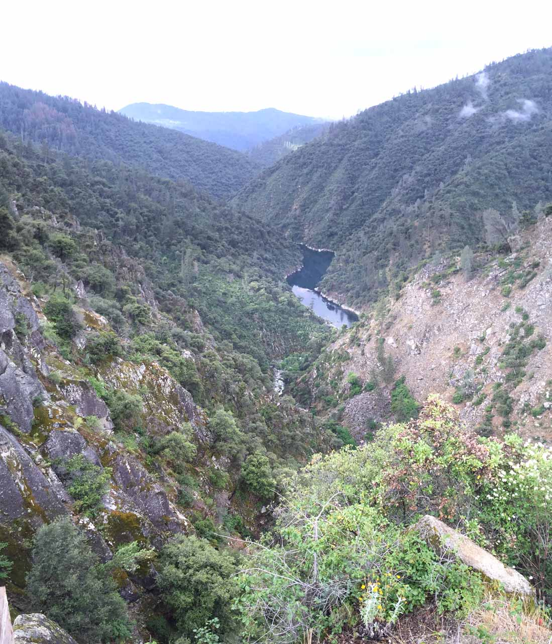 The view of the Middle Fork Feather River and the headwaters of Lake Oroville from the lookout at the top of the climb
