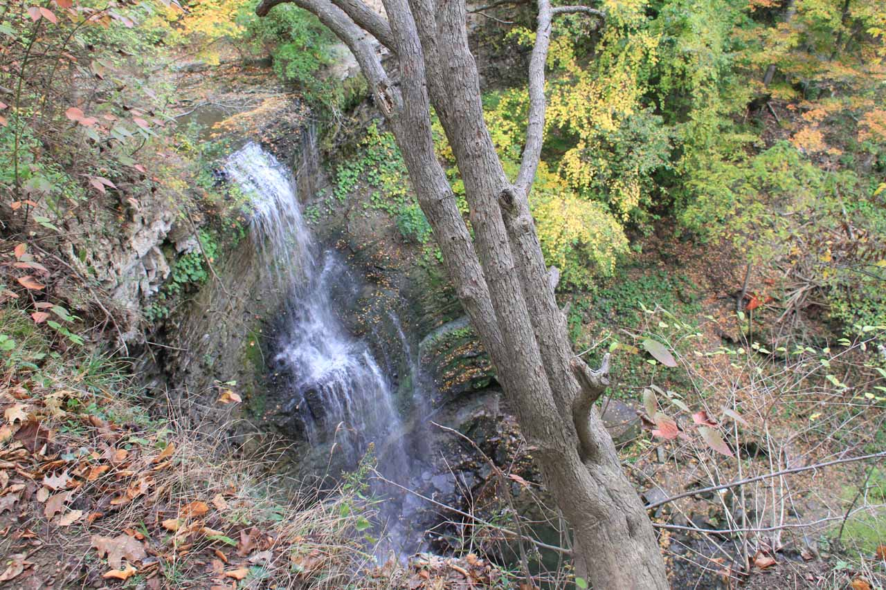 Contextual view of the top down perspective of Felker's Falls and the dropoff