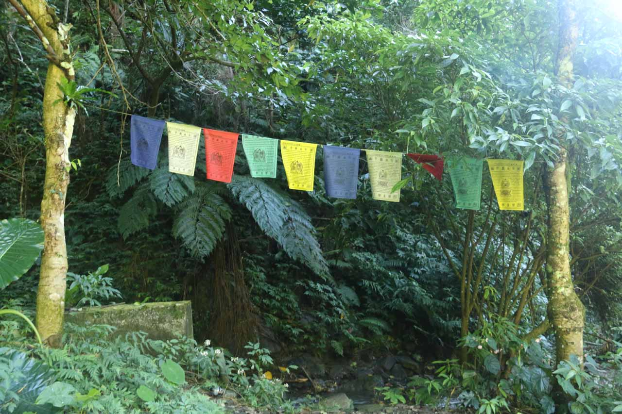 Prayer flags (I think) next to the shelter by the trailhead