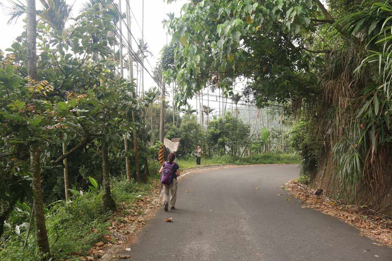 Mom walking towards the Fenghuang Waterfall Trailhead