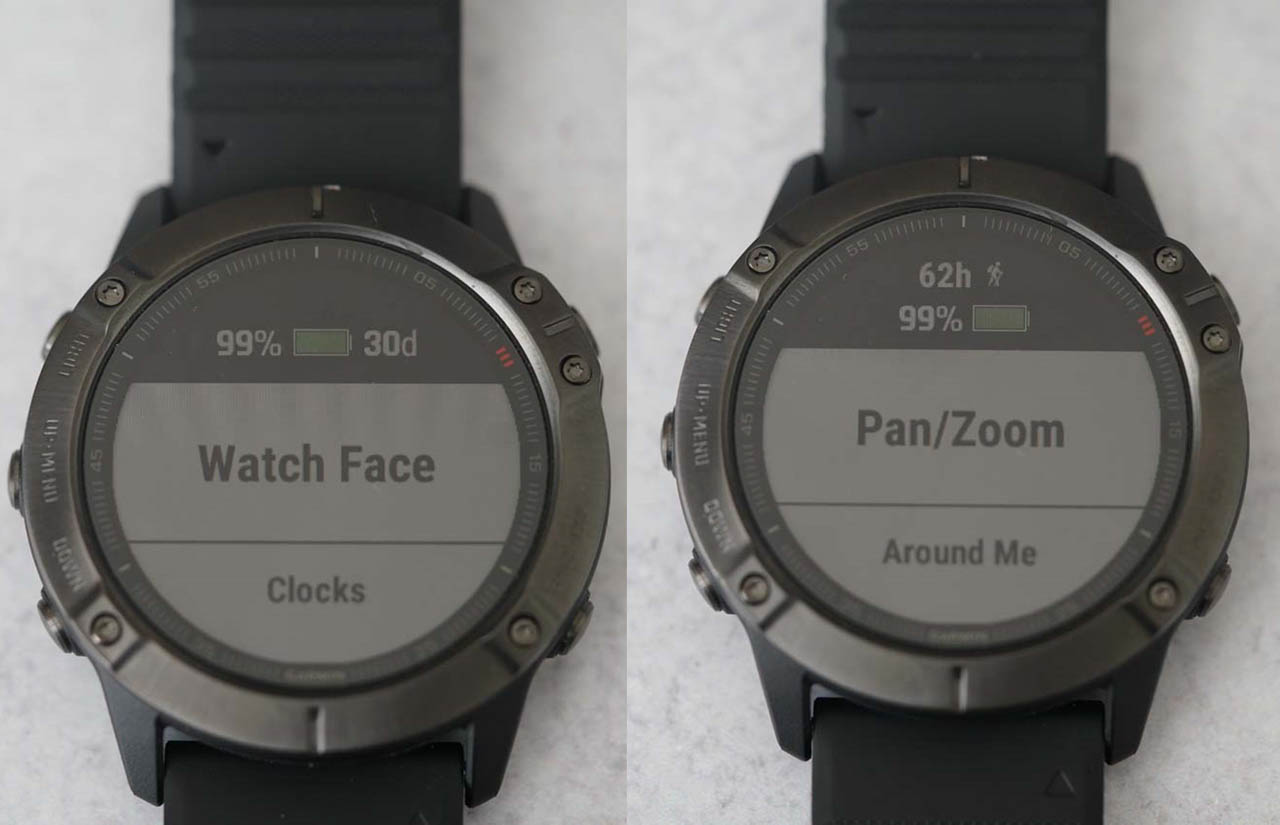 Side by side look at the estimated battery life remaining when the Fenix 6X Pro was in regular watch mode versus Map Mode along with Hiking mode