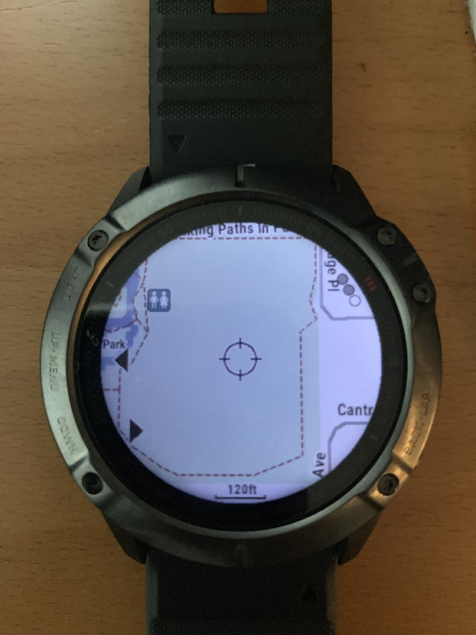 Limited map detail on my Garmin Fenix 6X Pro TopoActive North America map, which is far inferior to that of Gaia GPS