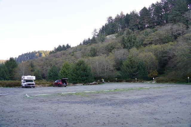 Fern_Canyon_Gold_Dust_Falls_003_11212020 - The spacious parking lot at the end of Davidson Road, which wasn't very busy when we showed up before 9am