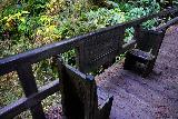 Fern_Canyon_Gold_Dust_Falls_129_11212020 - Another look at the pair of chairs with the memorial in the middle of the bridge on the James Irvine Trail