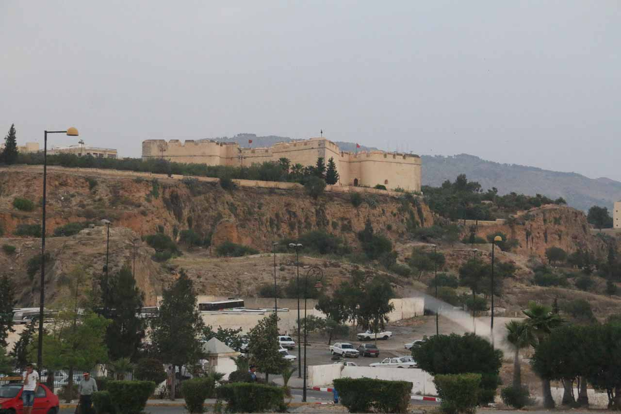 An impressive fort perched high above a hill overlooking the medina of Fes
