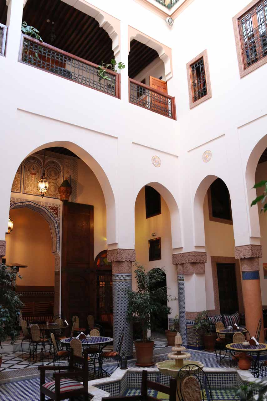 The impressive courtyard in the middle of our riad in Fes