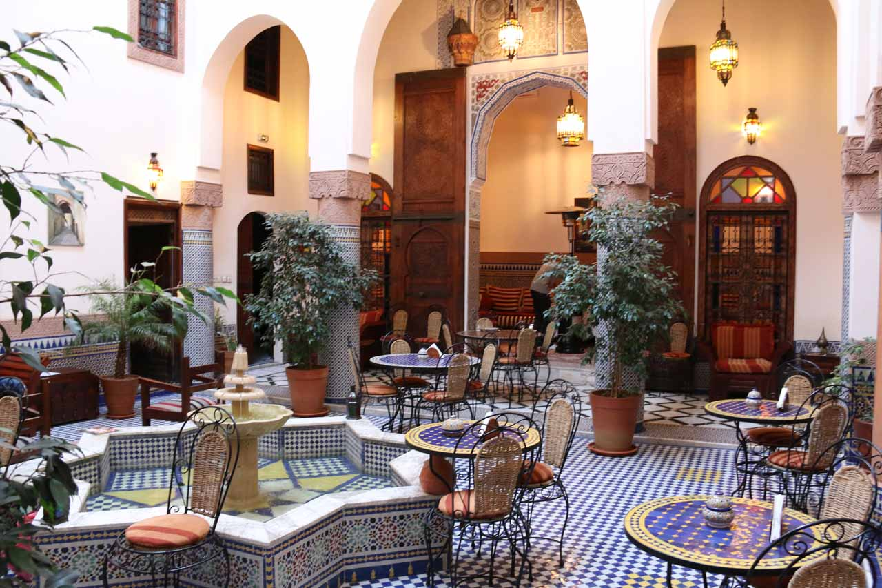 This is the very nice atrium in a riad in Fes, Morocco. This was actually an accommodation suggested by the tour operator we made a booking with as we opted to rely on local knowledge over our research