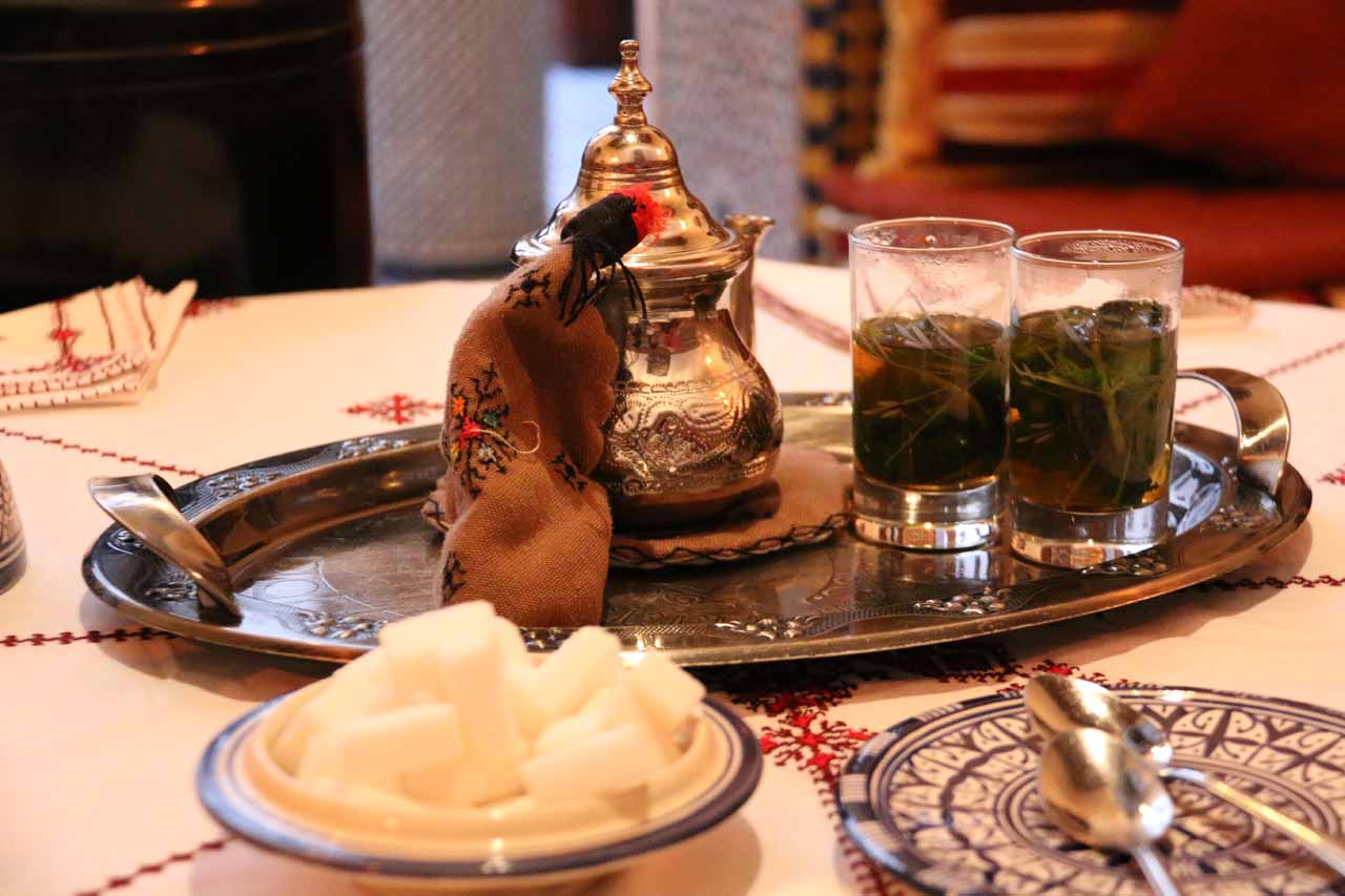 We were served sweet Moroccan tea while we were in the atrium going through check in formalities