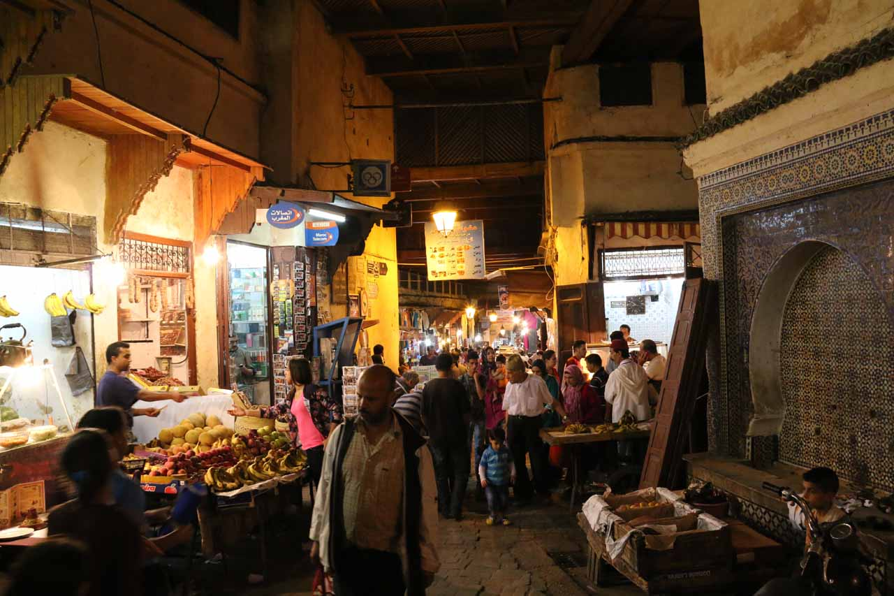 Passing through a food-rich area of the medina in Fes