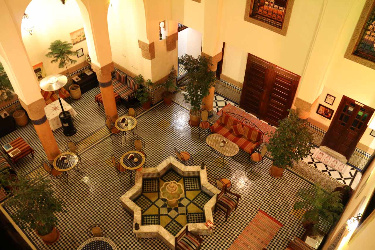 Another look down at the pretty atrium in our riad