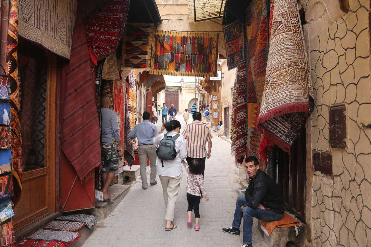Walking through some souks as we made our way to the Medersa Bouinania