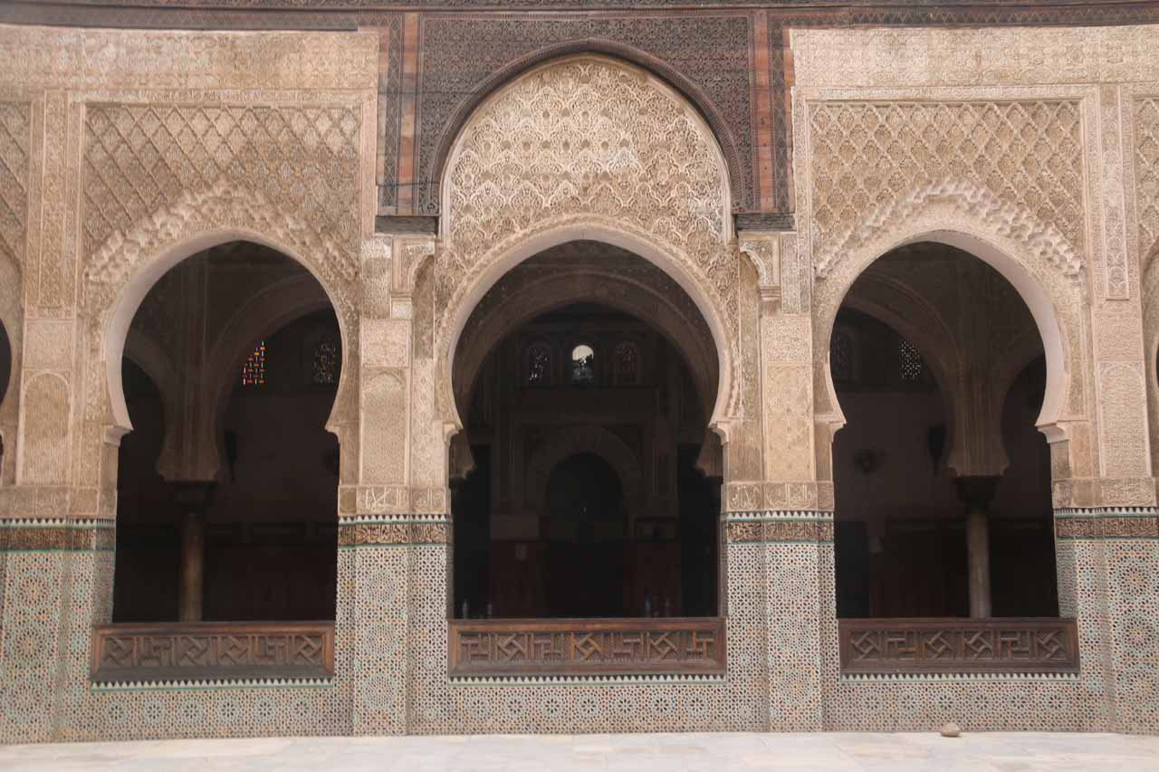 A trio of Arabic Arches at the Medersa Bouinania