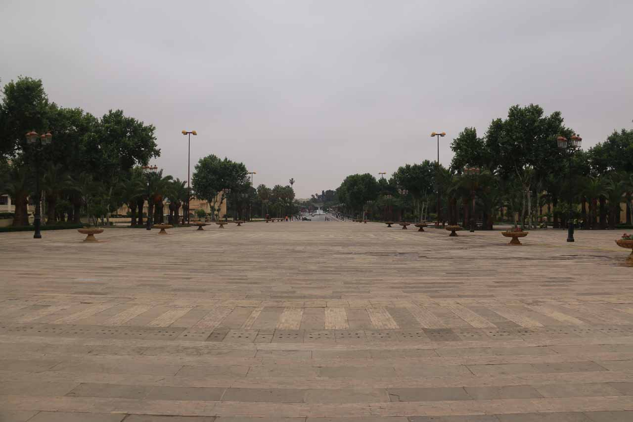Looking away from the Royal Palace gate towards a very wide open space that was empty this morning
