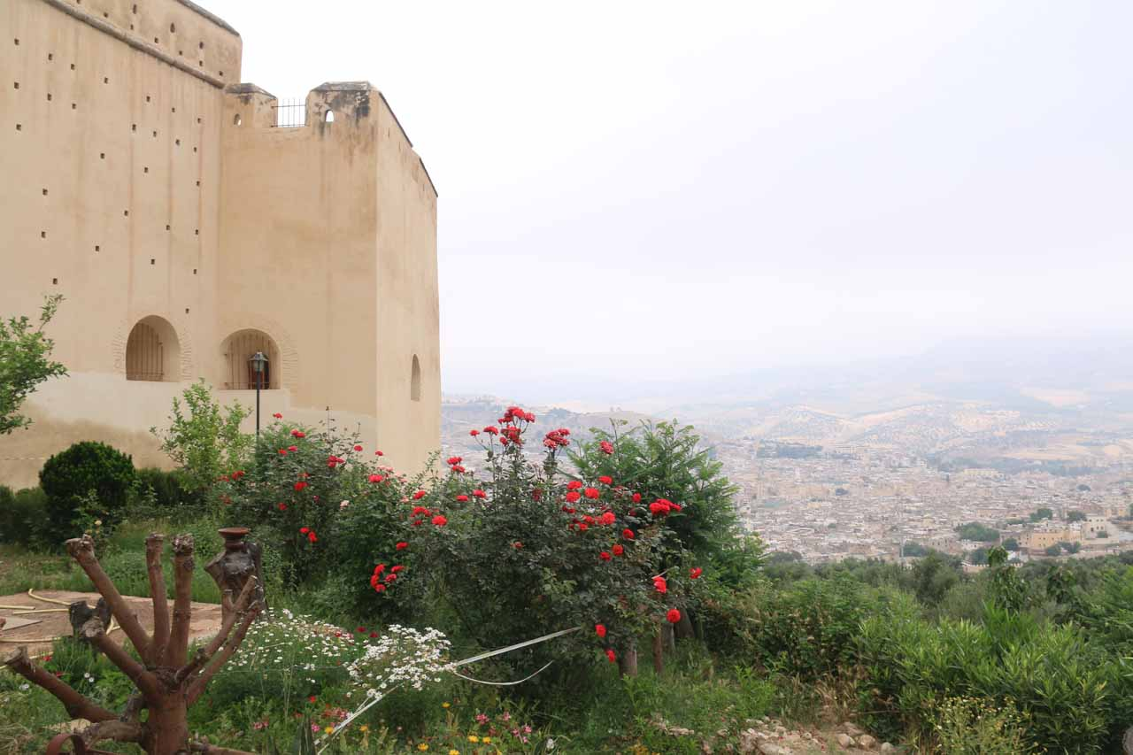 The fortress atop a hill overlooking the massive Fes medina