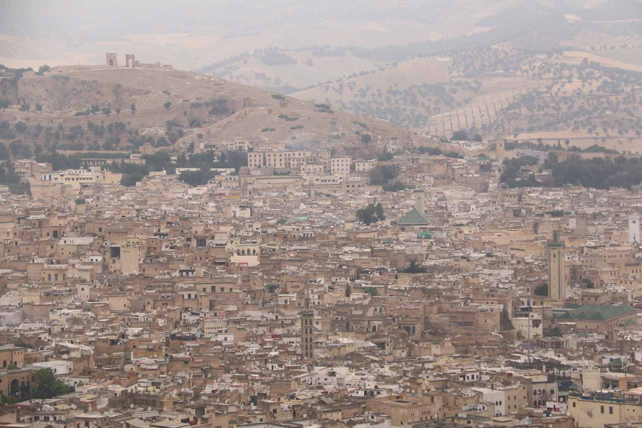 Looking towards the dense urban development of the Fes medina