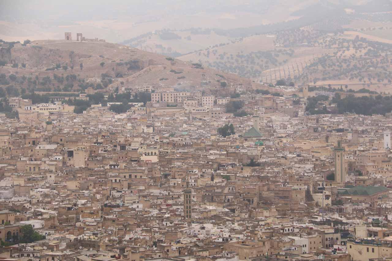 Looking towards the dense urban development of the Fes medina