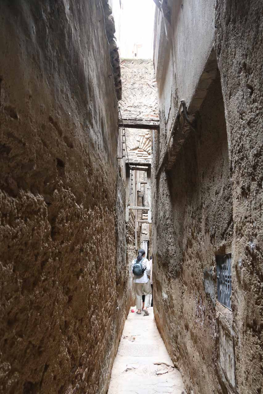 One of the narrowest alleyways in the Fes medina