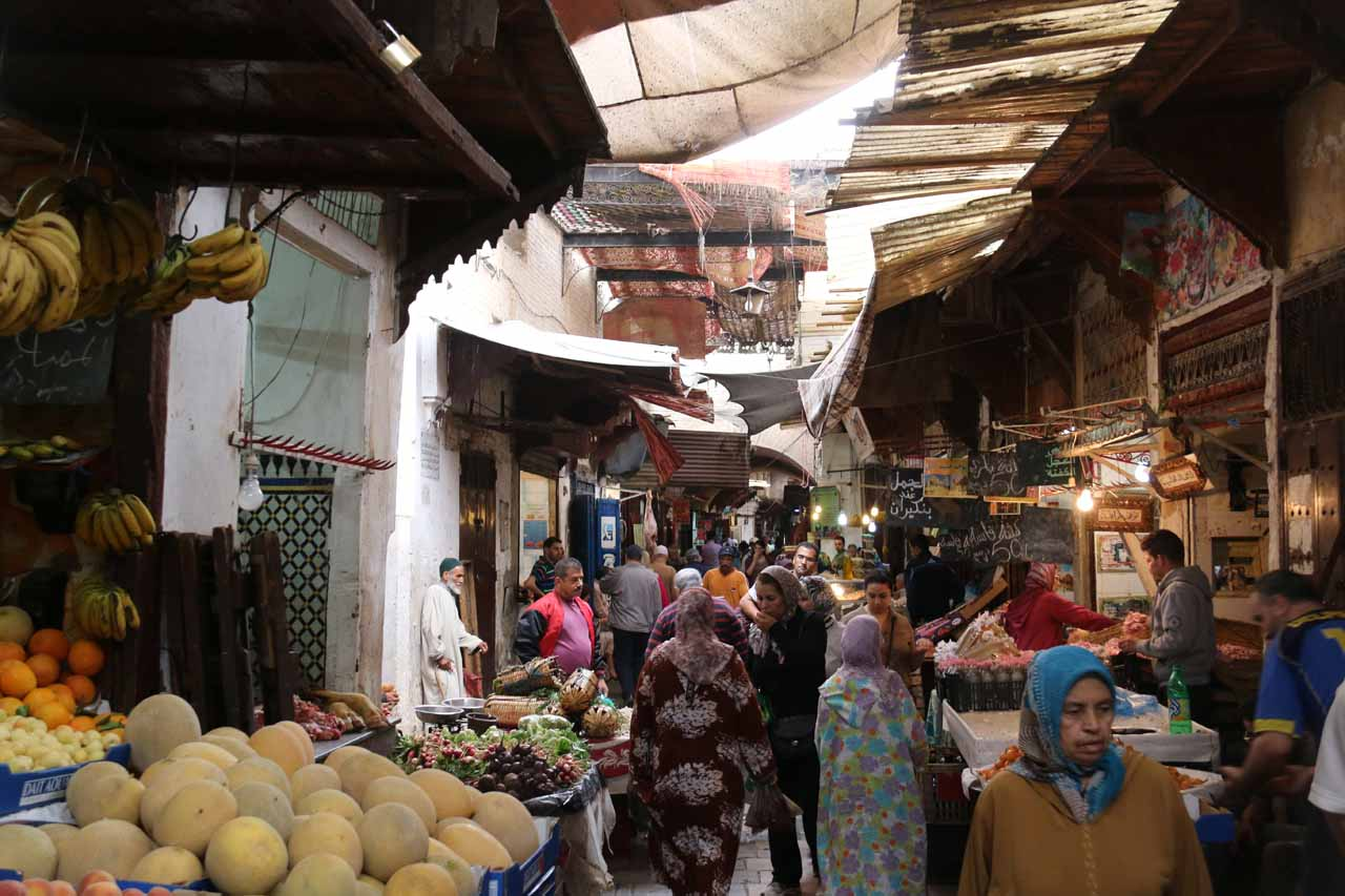Karim leading us through more fruit stands in the medina of Fes