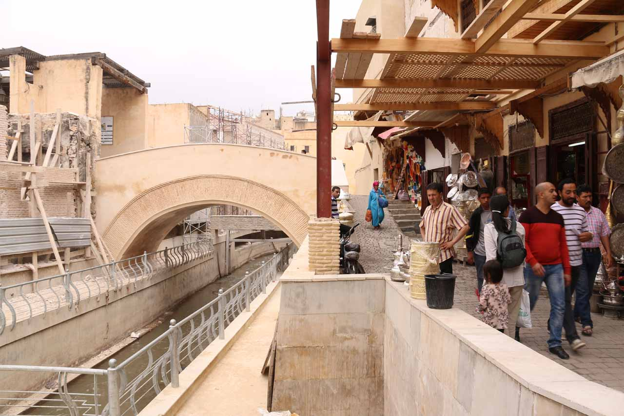 Now alongside the mostly hidden river running through Fes medina